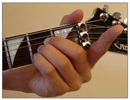 A Major chord finger placement