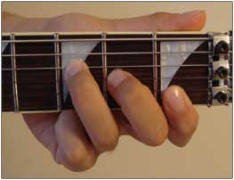 F Major chord finger placement